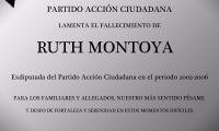 Esquela: PAC lamenta el fallecimiento de  Ruth Montoya