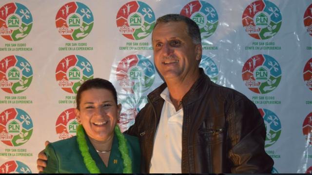 Melvin Villalobos actual alcalde de San Isidro y Sianny Villalobos, candidata a la alcaldía. Ambos del PLN. Fotografía obtenida del Facebook de Sianny Villalobos.