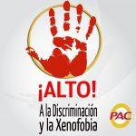 Alto a la discriminación y la xenofobia