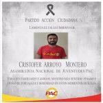 Esquela: PAC lamenta el fallecimiento CRISTOFER ARROYO MONTERO